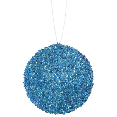 "4ct Turquoise Blue Sequin and Glitter Drenched Christmas Ball Ornaments 4"" (100mm)"""