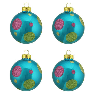 "4ct Turquoise Blue with Glitter Polka Dot Design Glass Ball Christmas Ornaments 2.5"" (65mm)"""