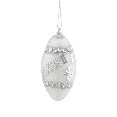 "4ct White and Silver ""Sexy"" Rhinestone and Glittered Shatterproof Christmas Finial Ornaments 4.5"""