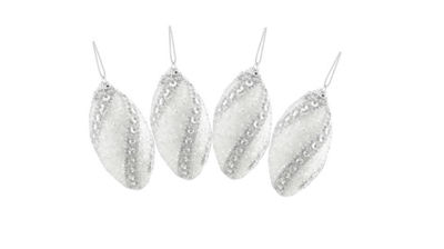 4ct White and Silver Beaded and Glittered ConfettiShatterproof Christmas Finial Ornaments 4.5""
