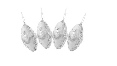 """4ct White and Silver Rhinestone and Beaded Shatterproof Christmas Finial Ornaments 4.5"""""""