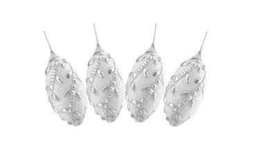 4ct White and Silver Rhinestone and Beaded Shatterproof Christmas Finial Ornaments 4.5""