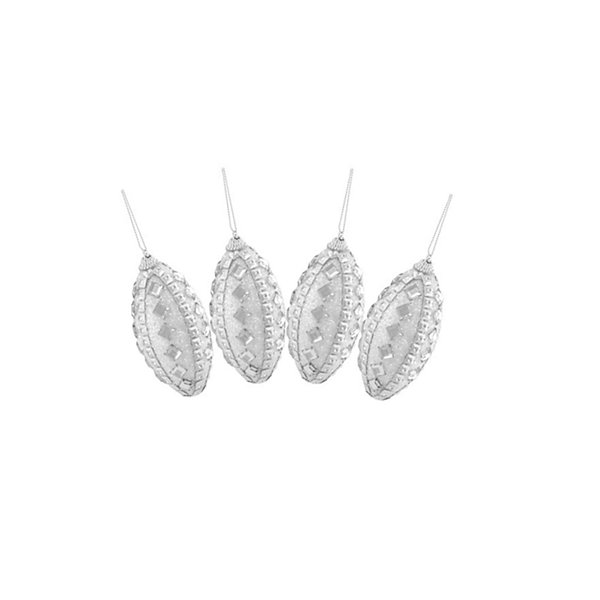 4ct White and Silver Rhinestone and Glitter Shatterproof Christmas Finial Ornaments 4.5""