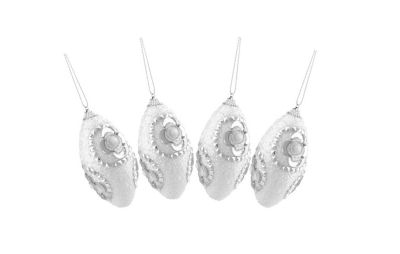 4ct White and Silver Rhinestone and Glittered Shatterproof Christmas Finial Ornaments 4.5""
