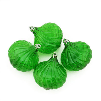 4ct Christmas Green Transparent Onion Drop Shatterproof Christmas Ornaments 4.5""