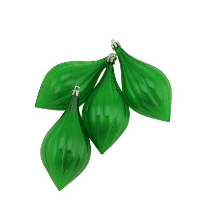 "4ct Christmas Green Transparent Shatterproof Finial Christmas Ornaments 5"""