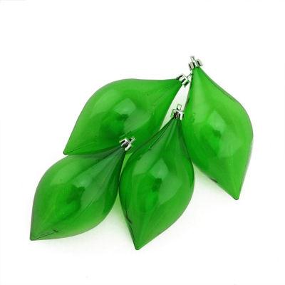 "4ct Christmas Green Transparent Teardrop Shatterproof Christmas Finial Ornaments 5.25"" (130mm)"""