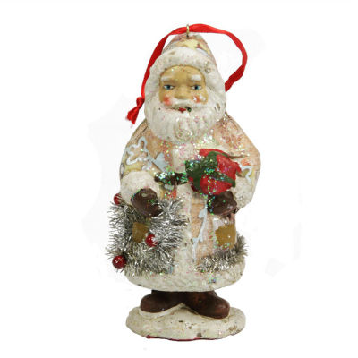 """5"""" Ceramic Glitter Santa with Gifts and Wreath Christmas Ornament"""""""