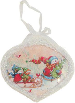 "5"" Glass Led Lighted Snowman Scene Christmas OnionOrnament"""
