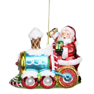 "5"" Glass Santa Claus on Holiday Train Decorative Christmas Ornament"""