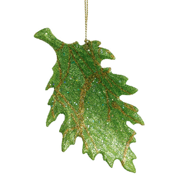 "5"" Green And Gold Glitter Leaf Christmas Ornament"""