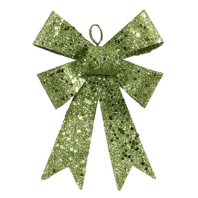"5"" Lime Green Sequin and Glitter Bow Christmas Ornament"""