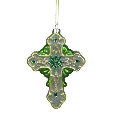 "5"" Luck of the Irish Green and White Mercury Finish Cross Glass Christmas Ornament"""