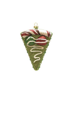 "5"" Merry & Bright Green  Red and White Glitter Shatterproof Birthday Cake Slice Christmas Ornament"""