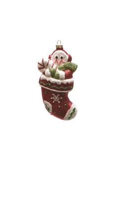 "5"" Merry & Bright Red  Green and White Glitter Shatterproof Snowman in Christmas Stocking Ornament"""