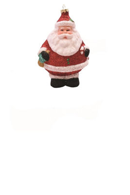 "5"" Merry & Bright Red  White and Black Glittered Shatterproof Santa Claus Christmas Ornament"""