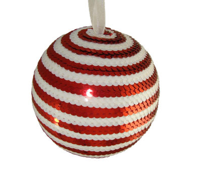 "5"" Peppermint Twist Red & White Candy Cane StripeSequin Christmas Ball Ornament"""
