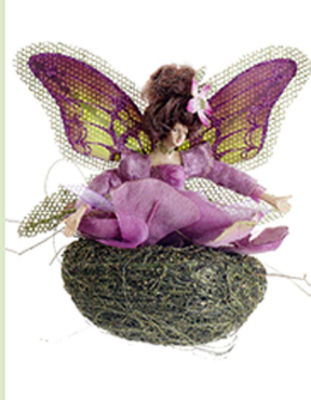 """5"""" Princess Garden Green and Purple Butterfly Fairy in Nest Christmas Ornament"""""""