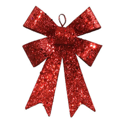 """5"""" Red Sequin and Glitter Bow Christmas Ornament"""""""