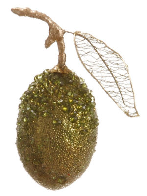 """5"""" Sugared Fruit Glitzy Beaded Green Lime Christmas Ornament"""""""