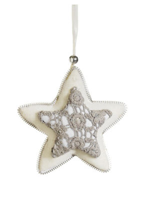 "5"" Victorian Lace Gray and Cream Plush Star Christmas Ornament"""