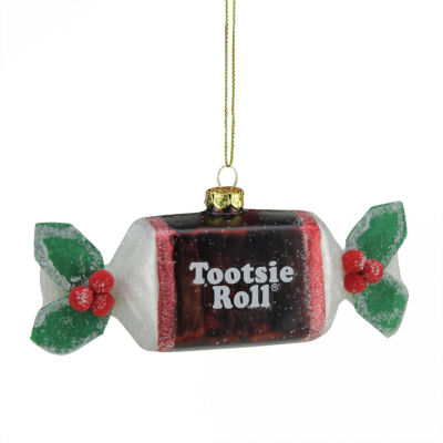 """5.25"""" Candy Lane Tootsie Roll Original Chewy Chocolate Candy Glass Christmas Ornament"""