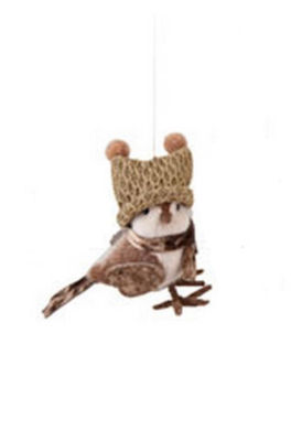 """5.25"""" Decorative Cozy Brown Bird with Winter Hat Christmas Ornament"""""""