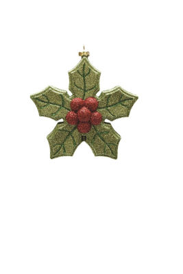 """5.25"""" Merry & Bright Green and Red Glitter Shatterproof Poinsettia Christmas Ornament"""""""