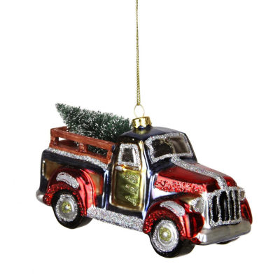 "5.25"" Multi-Color Glittered Glass Truck with Tree Christmas Ornament"""