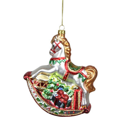"5.25"" White Glittered Traditional Rocking Horse with Gifts Glass Christmas Ornament"""