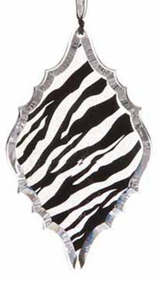 "5.5"" Diva Safari Glittered Zebra Animal Print Diamond Prism Christmas Ornament"""