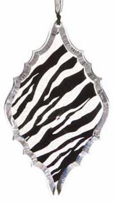 "5.5"" Diva Safari Glittered Zebra Animal Print Diamond Prism Christmas Ornament"""