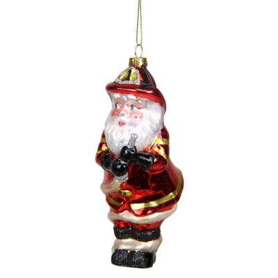 "5.5"" Glass Santa Fireman Decorative Christmas Ornament"""
