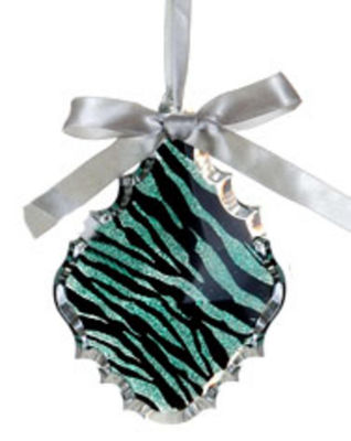 "5.5"" Glittered Teal Zebra Print Teardrop Prism Christmas Ornament"""