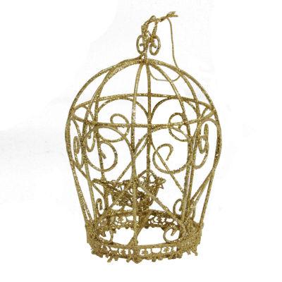 "5.5"" Glittery Gold Birdcage Christmas Ornament"""