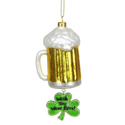 "5.5"" Luck of the Irish ""Wish You Were Beer"" GlassChristmas Ornament"""
