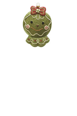 "5.5"" Merry & Bright Green  Red and White GlitteredShatterproof Gingerbread Head Christmas Ornament"""