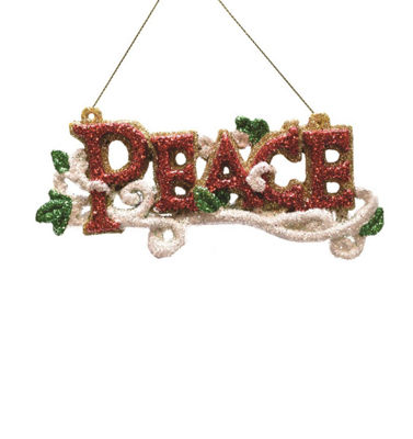 "5.5"" Merry & Bright Red  White and Green Glitter ""Peace"" Inspirational Christmas Ornament"""