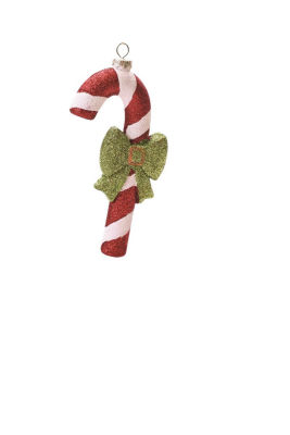 """5.5"""" Merry & Bright Red  White and Green Glitter Shatterproof Candy Cane Christmas Ornament"""""""