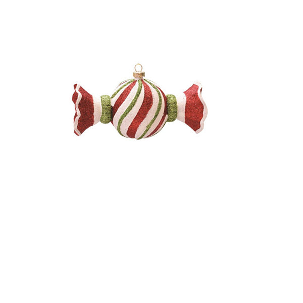 "5.5"" Merry & Bright Red  White and Green Glitter Swirl Shatterproof Christmas Candy Ornament"""
