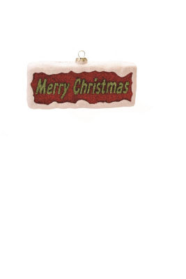 """5.5"""" Merry & Bright Red  White and Green Glittered""""Merry Christmas"""" Shatterproof Christmas Ornament"""""""
