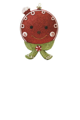 "5.5"" Merry & Bright Red  White and Green GlitteredShatterproof Gingerbread Head Christmas Ornament"""