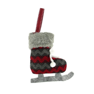 "5.5"" Red and Black Chevron Plush Knit Ice Skate Christmas Ornament"""