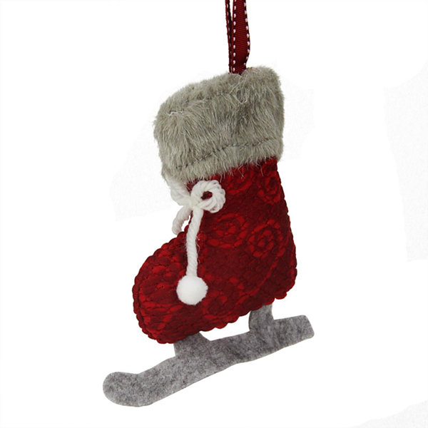 "5.5"" Red and Gray Plush Knit Ice Skate Christmas Ornament"""