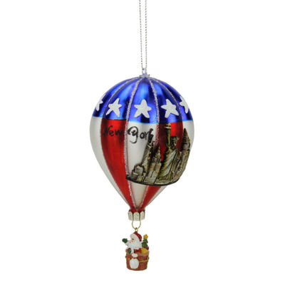 "5.75"" Red  Blue and Silver ""New York"" Glass Hot Air Balloon Christmas Ornament"""