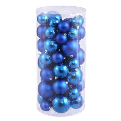 "50ct Lavish Blue Shiny & Matte Shatterproof Christmas Ball Ornaments 2.4""-3""-4"""