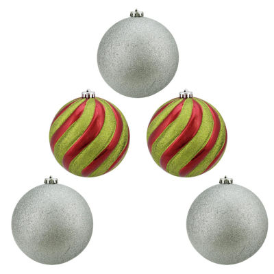 """5ct Shiny Red  Green and Silver Glitter Shatterproof Ball Christmas Ornaments 6"""" (150mm)"""