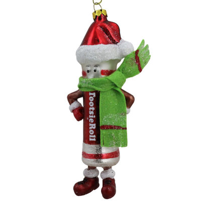 """6"""" Candy Lane Tootsie Roll Original Chewy Chocolate Candy Glass Christmas Ornament"""