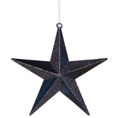 """6"""" Classical Sea Blue Matte with Alternating Glitter Christmas Star Ornament"""""""