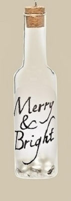 "6"" Clear Glass Wine Bottle Inscribed ""Merry & Bright"" with Jingle Bells Christmas Ornament"""